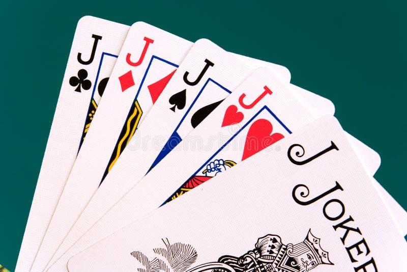 Cards four cards 09 jacks joker royalty free stock image