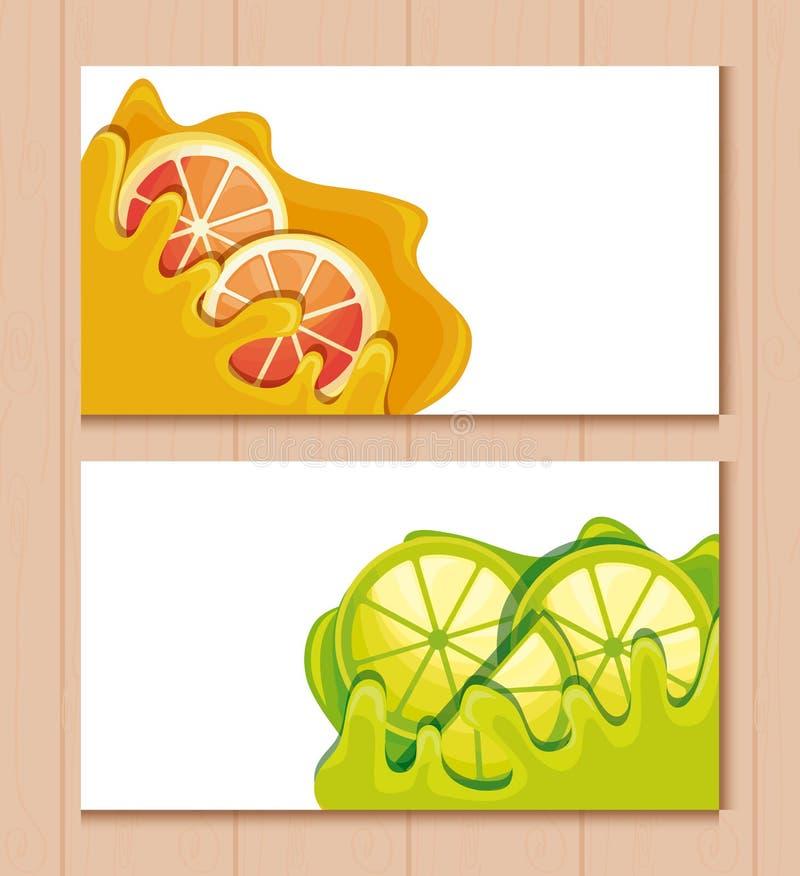 Cards and fresh oranges with lemons sliced fruit vector illustration
