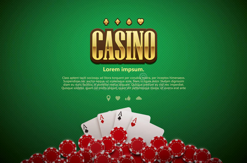 Cards gå i flisor den gröna tabellen för poker och bästa sikt för realistiskt tema royaltyfri illustrationer