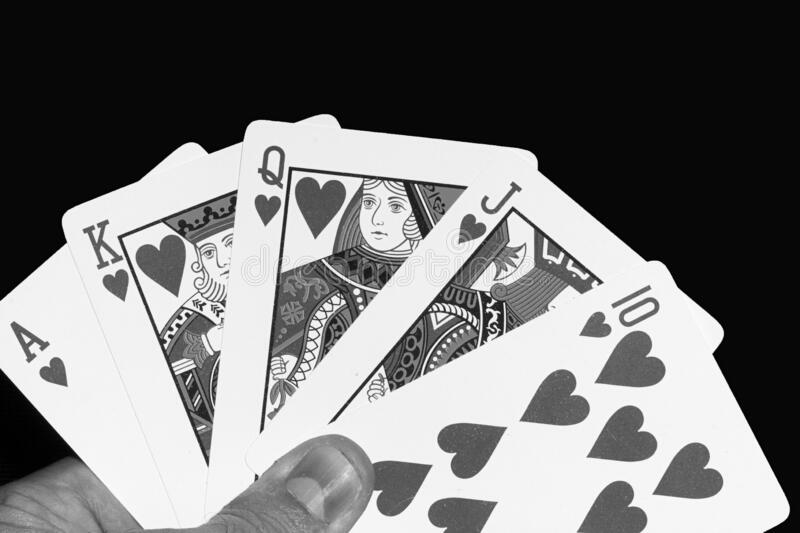 Cards game hand hearts ace ten black white stock image