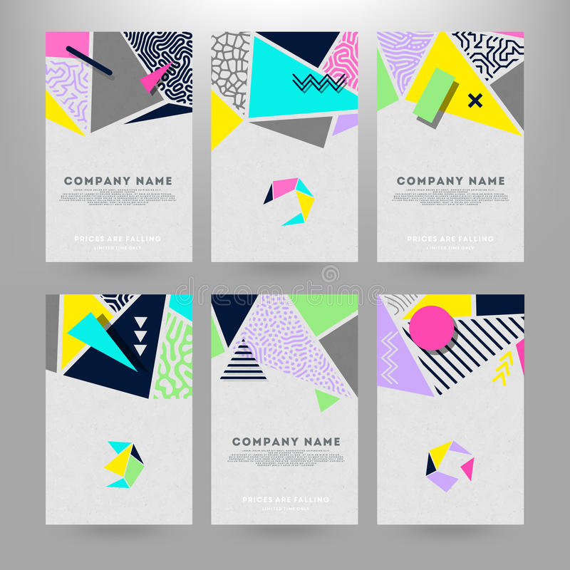 Cards with geometric shapes vector illustration