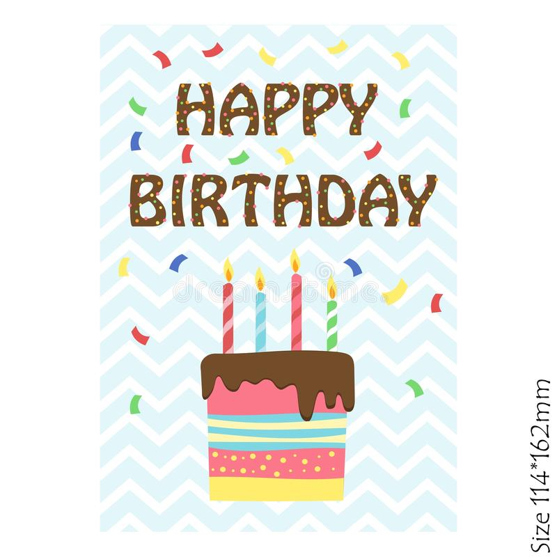 Cards for kids happy Birthday. Birthday cake with candles. vector illustration