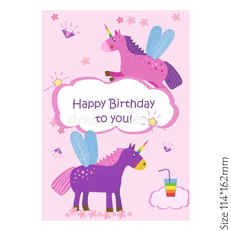 Cards for kids happy Birthday. Cute unicorns, magic. Joy, happiness, children. Vector illustration royalty free illustration