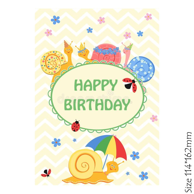 Cards for kids happy Birthday. Funny snail and the inscription. Joy, happiness, children. Vector illustration royalty free illustration
