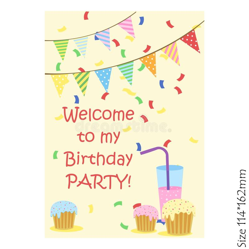 Cards for kids happy Birthday. The invitation to the party. Joy, happiness, children. Vector illustration royalty free illustration