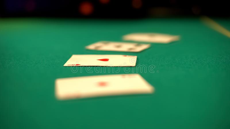 Cards lying on casino table, poker and blackjack games, fortune and betting stock photos