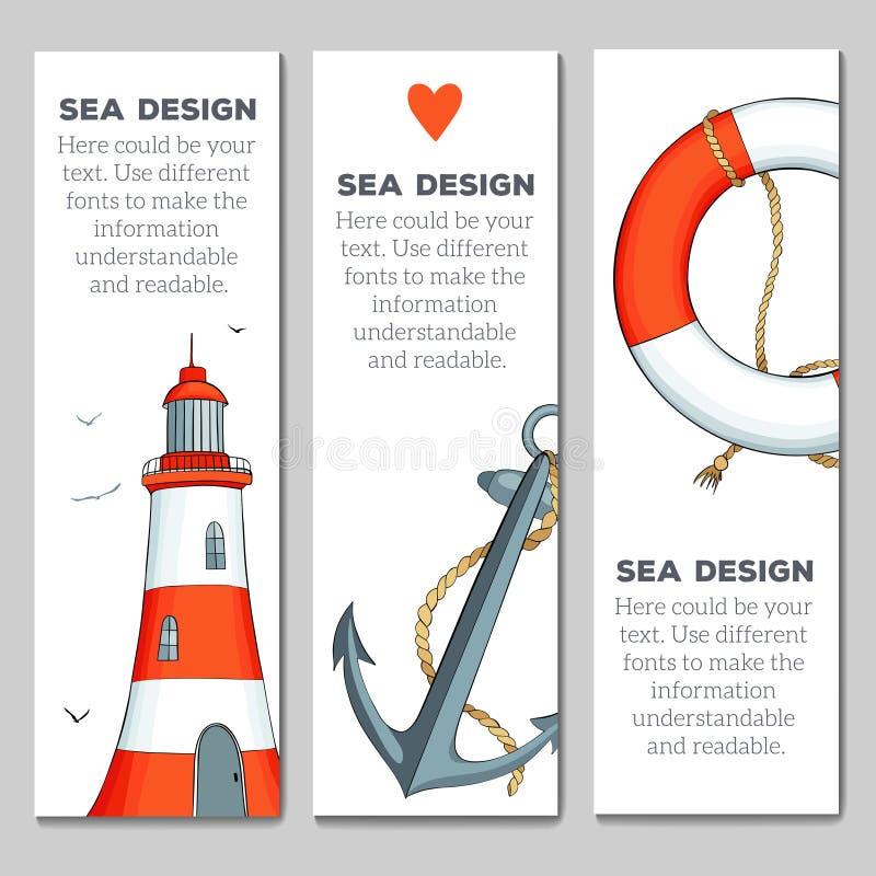 Cards mallar med nautiska beståndsdelar vektor illustrationer