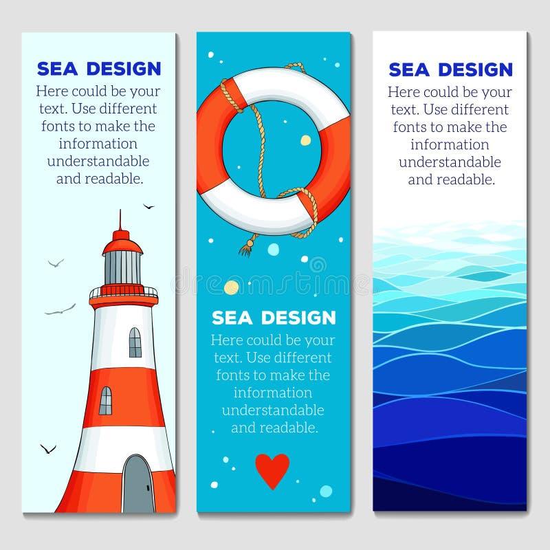 Cards mallar med nautiska beståndsdelar stock illustrationer