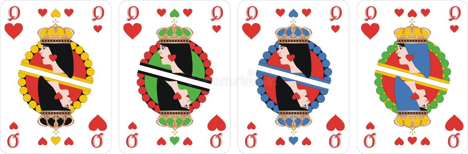 Playing cards heart Queen for rummy and Cassino. Cards for playing for fun and gambling playing cards in cassino - HEARTS and Queens vector illustration