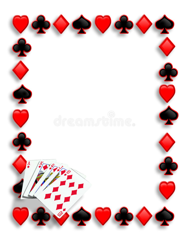 Free Cards Poker Border Royal Flush Royalty Free Stock Images - 8665549