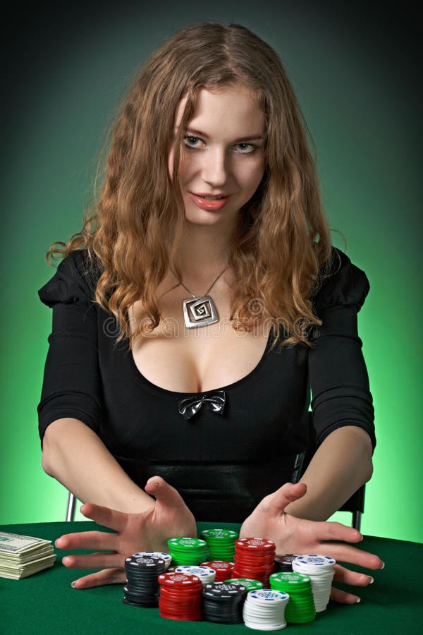cards poker för kasinochipsvspelare royaltyfria bilder