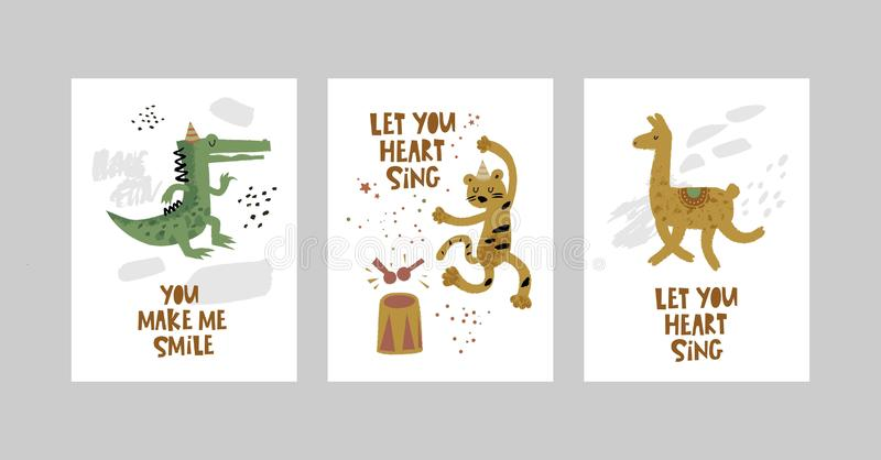 Cards or posters set with cute animals, crocodile, leopard, Lama in cartoon style vector illustration