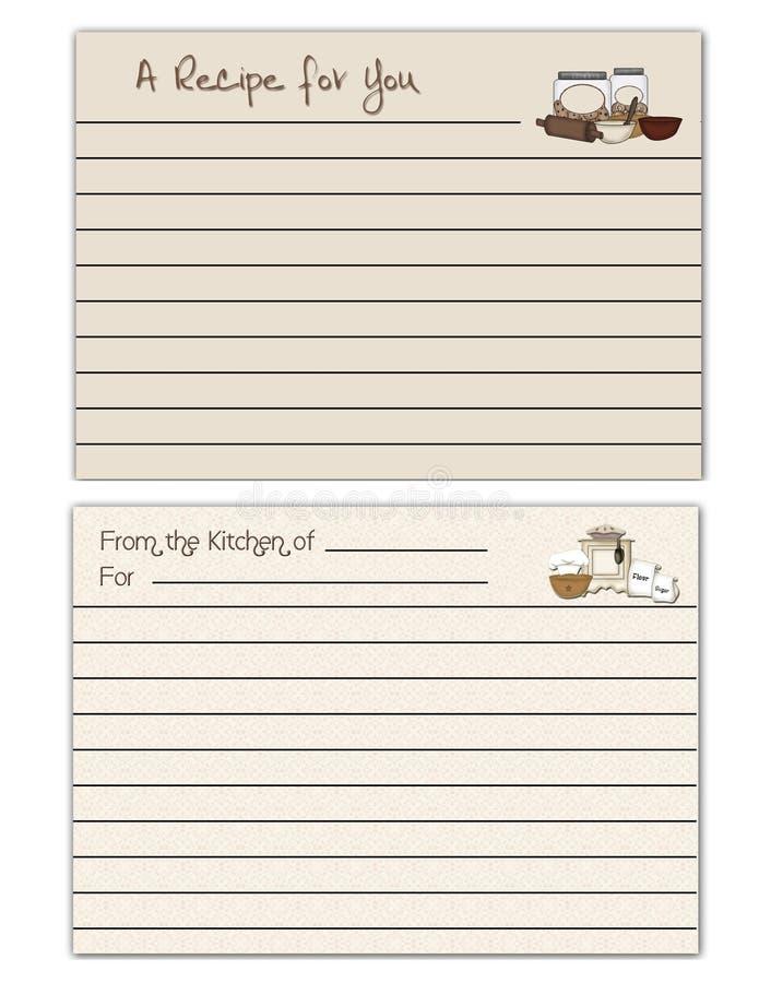 cards recept royaltyfri illustrationer