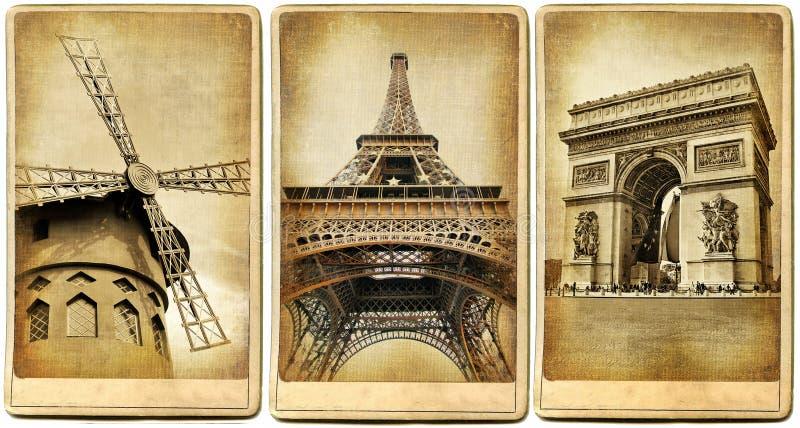 cards retro paris stock illustrationer