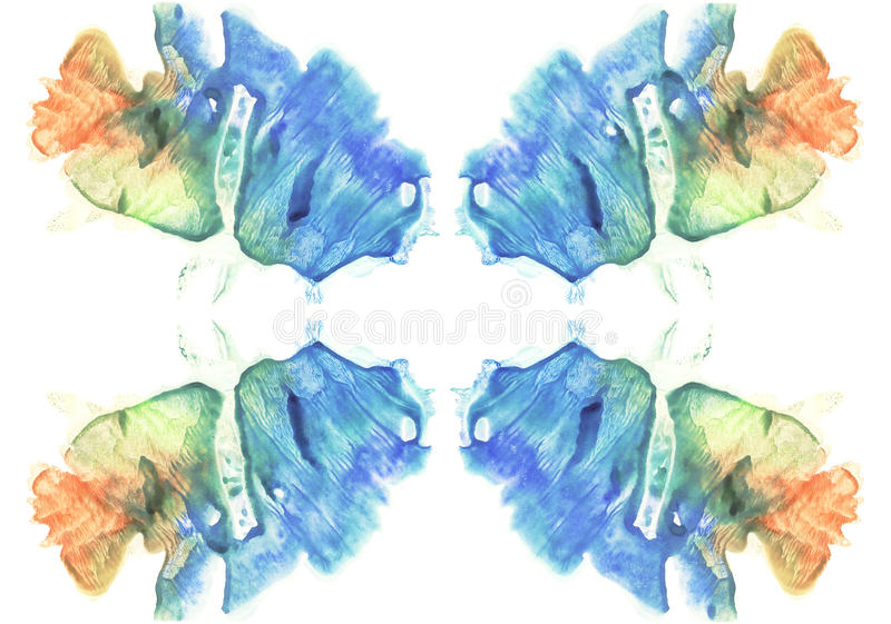 Cards of rorschach inkblot test. Watercolor picture. Abstract background. Blue, orange, yellow and green paint. vector illustration