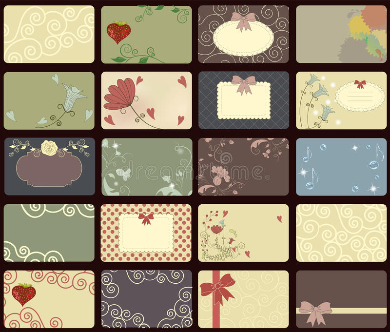cards samlingstappning stock illustrationer