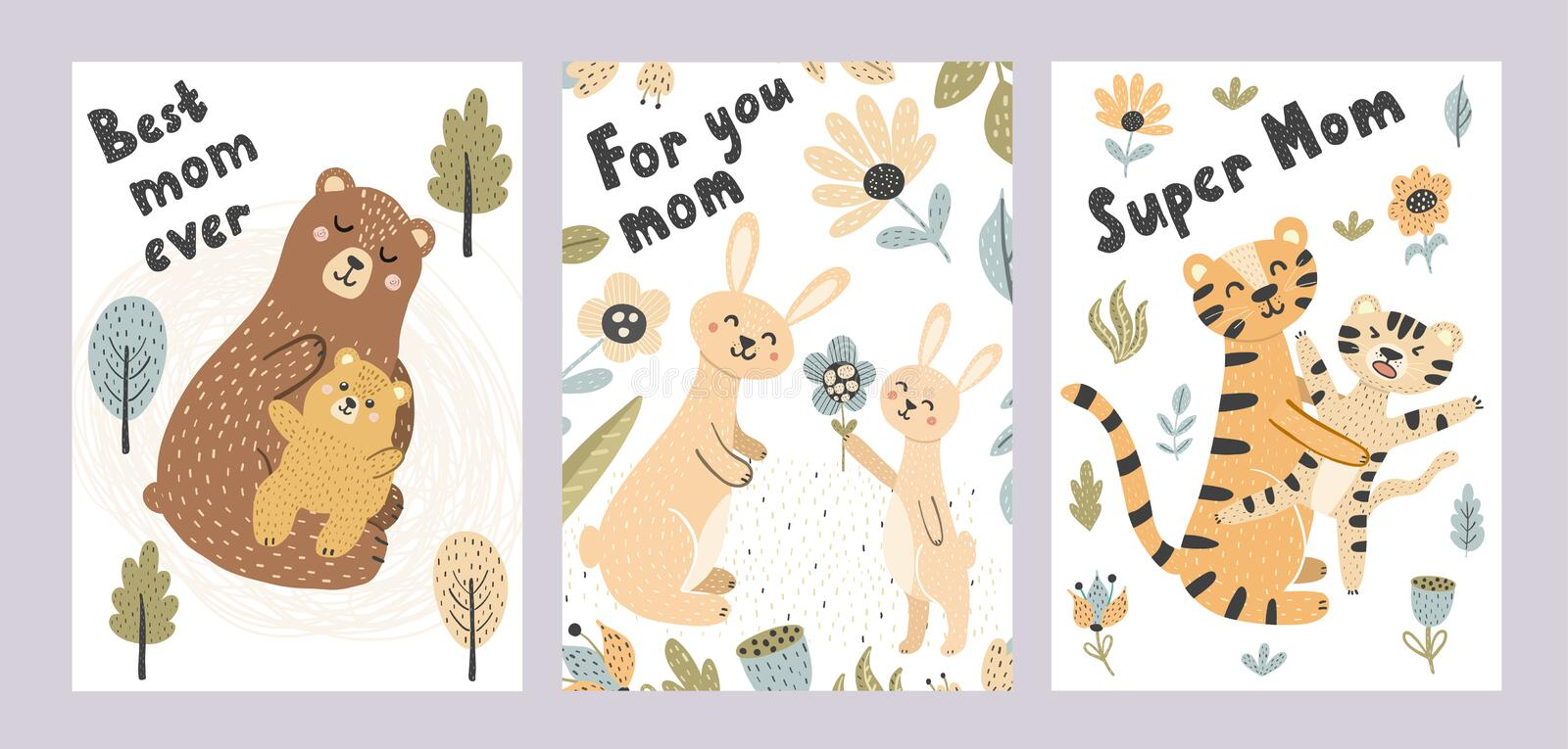 Mother's day cards collection. Adorable postcards with cute animals - mother and babies. Vector illustration vector illustration