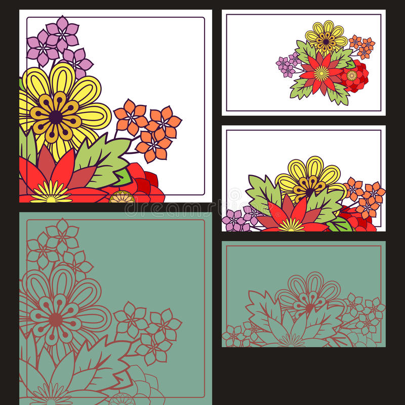 Cards set. With floral decoration royalty free illustration