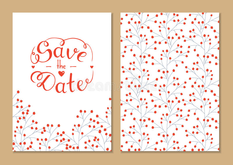 Cards set save the date with hand lettering. vector illustration
