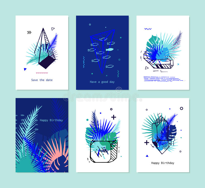 Cards set of tropical elements with crystals. ?ards Set of Tropical elements with crystals. Vector card with exotic flowers and palm leaves, tropical print vector illustration