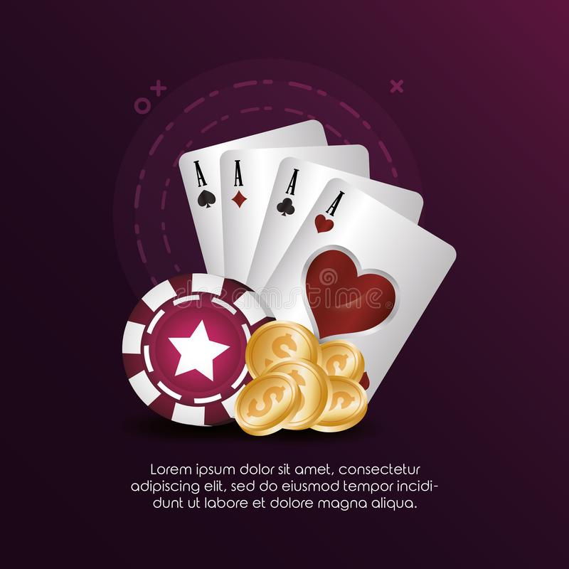 Cards suits chips and golden coins casino poker stock illustration