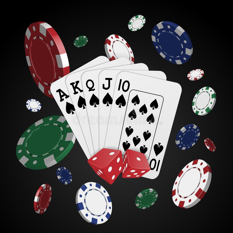Cards surrounded by playing chips on a dark background. Gambling royalty free illustration