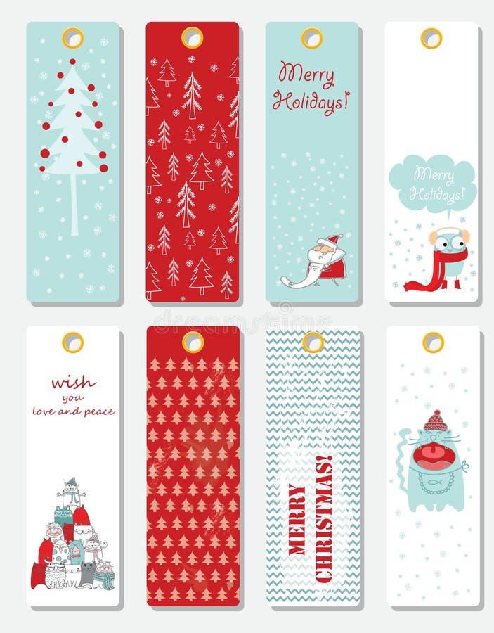 cards varios för julsamlingshälsning stock illustrationer