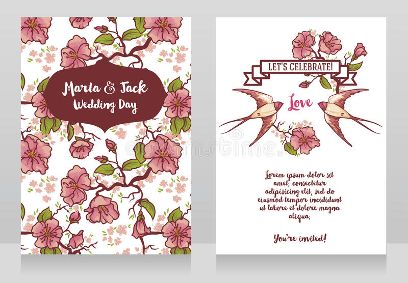 Cards for wedding with blooming tree branches and swallows couple vector illustration