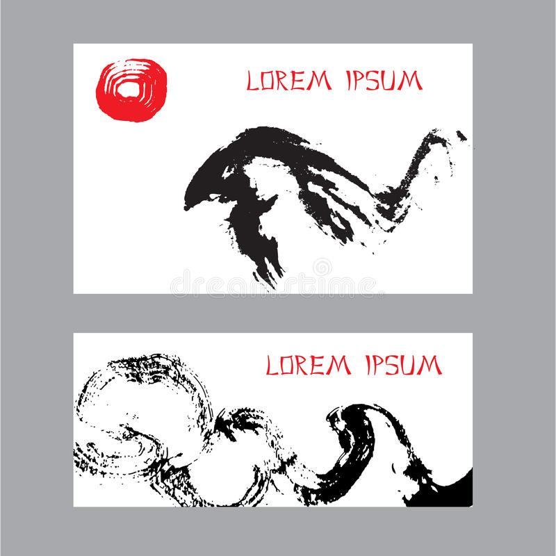Free Cards With Abstract Birds. Hand-drawn With Ink. Stock Photography - 54317172