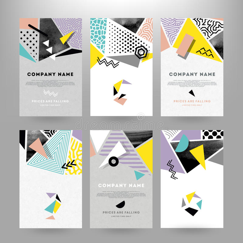 Free Cards With Geometric Shapes Royalty Free Stock Images - 83888359
