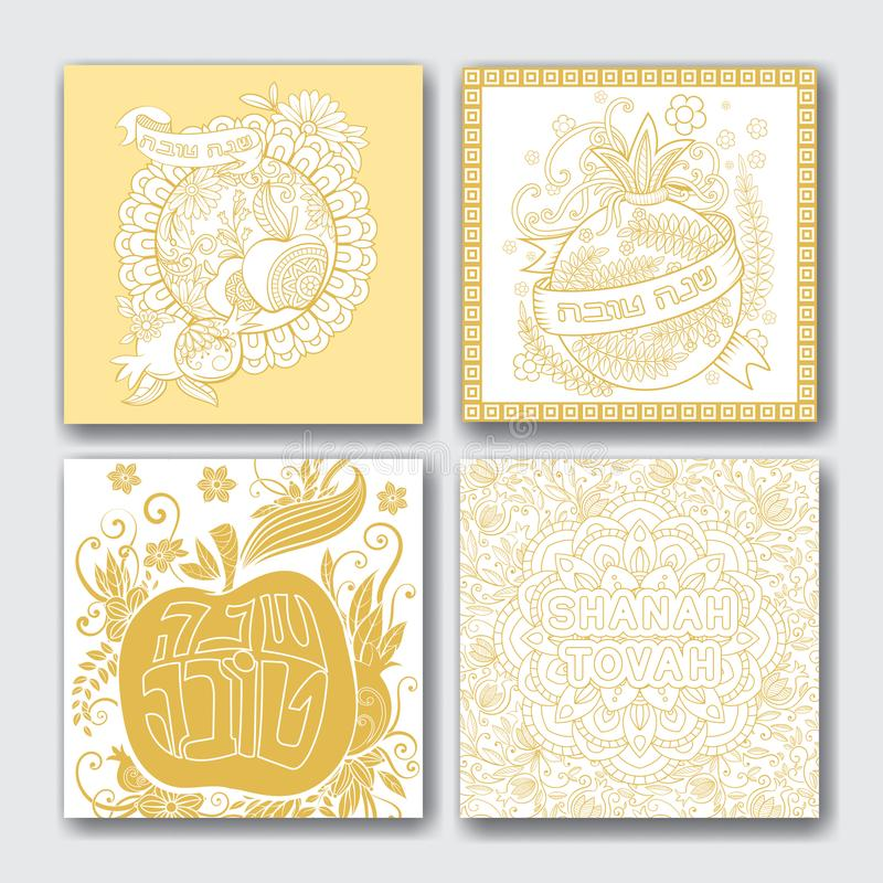 CardsRosh hashanah cards collection. Rosh hashanah - Jewish New Year greeting cards collection with apples, pomegranates and flowers. Greeting text in Hebrew vector illustration
