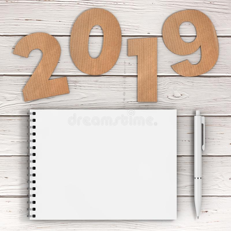 Cardstock Numbers 2019 Happy New Year Sign near White Spiral Pap stock illustration