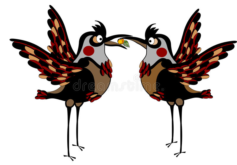Care. Two love birds are cared for each other stock illustration