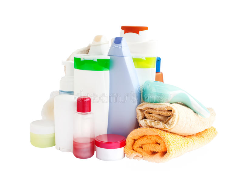 Care and bathroom products. Care products and bathroom supplies for body-care royalty free stock images