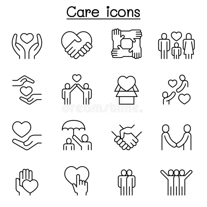 Care, generous and sympathize icon set in thin line style royalty free illustration