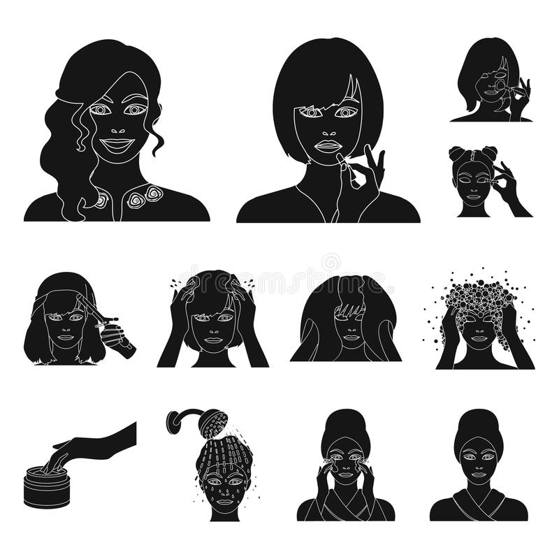Care of hair and face black icons in set collection for design. Perfumes and makeup vector symbol stock web illustration. Care of hair and face black icons in vector illustration
