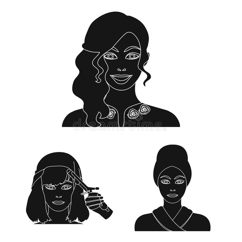 Care of hair and face black icons in set collection for design. Perfumes and makeup vector symbol stock web illustration. Care of hair and face black icons in stock illustration