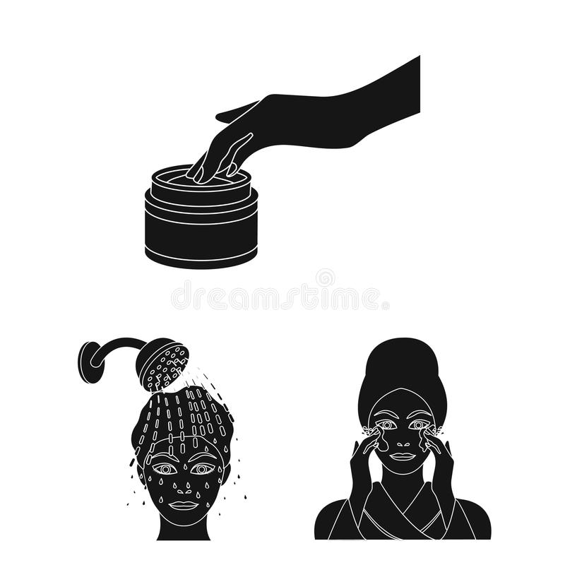 Care of hair and face black icons in set collection for design. Perfumes and makeup vector symbol stock web illustration. Care of hair and face black icons in royalty free illustration