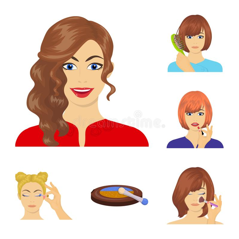 Care of hair and face cartoon icons in set collection for design. Perfumes and makeup vector symbol stock web. Care of hair and face cartoon icons in set royalty free illustration