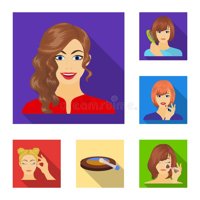 Care of hair and face flat icons in set collection for design. Perfumes and makeup vector symbol stock web illustration. Care of hair and face flat icons in set stock illustration