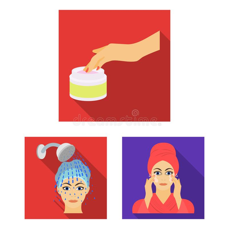 Care of hair and face flat icons in set collection for design. Perfumes and makeup vector symbol stock web illustration. Care of hair and face flat icons in set vector illustration