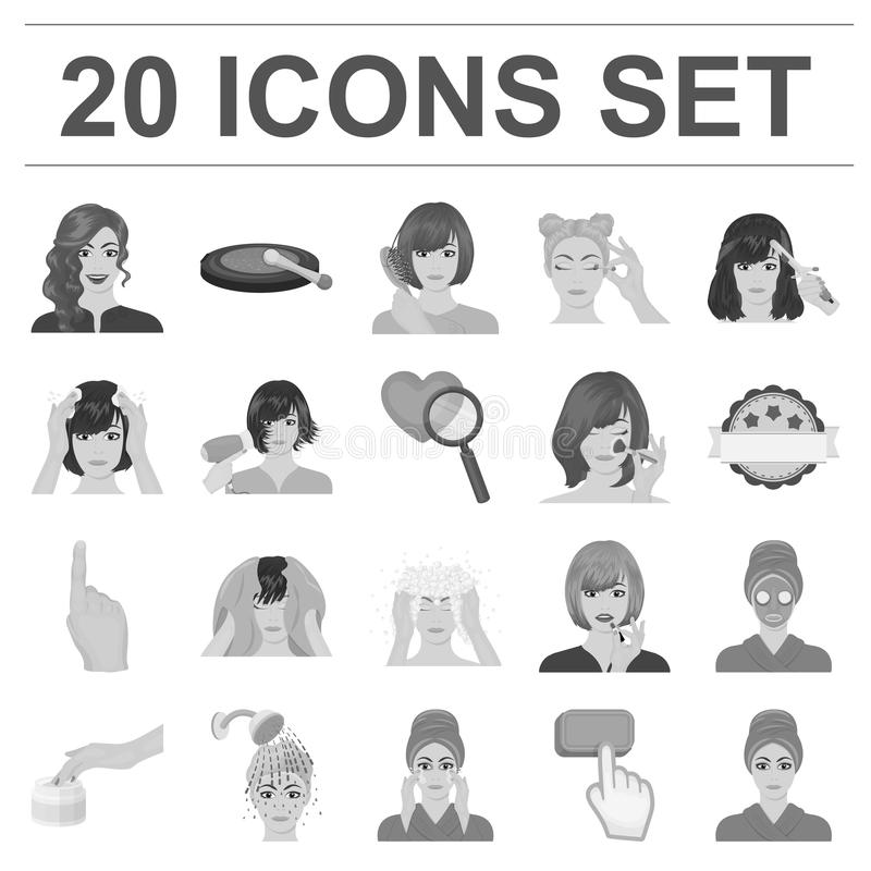Care Of Hair And Face Monochrome Icons In Set Collection For Design