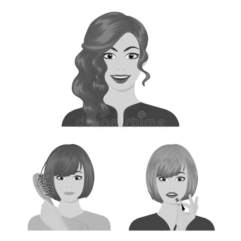 Care of hair and face monochrome icons in set collection for design. Perfumes and makeup vector symbol stock web. Care of hair and face monochrome icons in set vector illustration