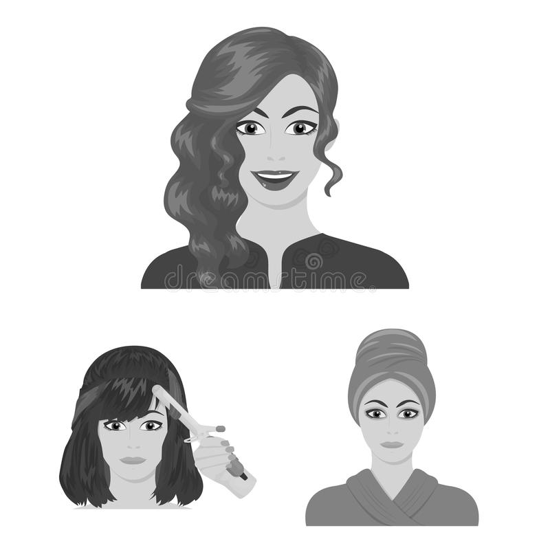 Care of hair and face monochrome icons in set collection for design. Perfumes and makeup vector symbol stock web. Care of hair and face monochrome icons in set royalty free illustration