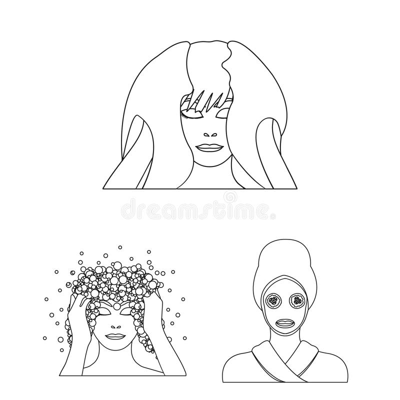 Care Of Hair And Face Outline Icons In Set Collection For Design
