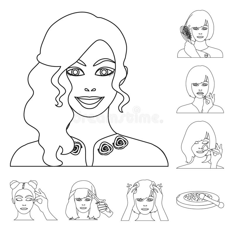 Care of hair and face outline icons in set collection for design. Perfumes and makeup vector symbol stock web. Care of hair and face outline icons in set stock illustration