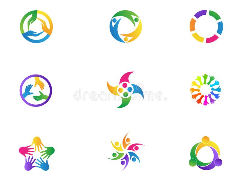 Care hands logo teamwork people diversity unity symbol vector icon set design. Health care and teamwork unity diversity logo people symbol vector icon set vector illustration