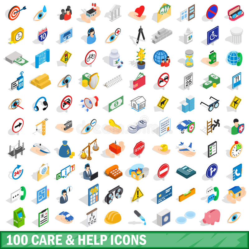 100 care and help icons set, isometric 3d style royalty free illustration