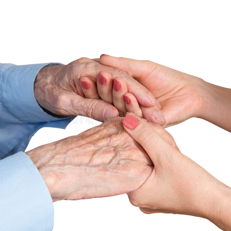 Care is at home of elderly. Isolated stock photos