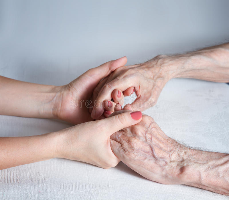 Care is at home of elderly. Concept of health care for elderly old people, disabled stock image